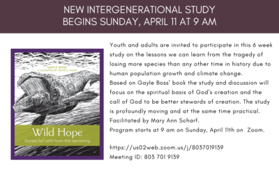 New Study Begins After Easter